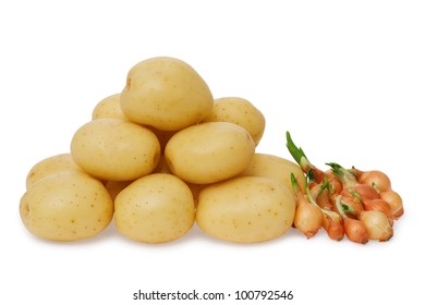 Fresh potatoes and onion on a white background