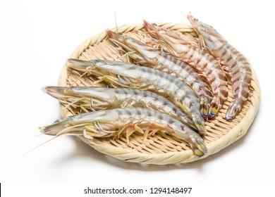 Fresh prawn put on a basket.