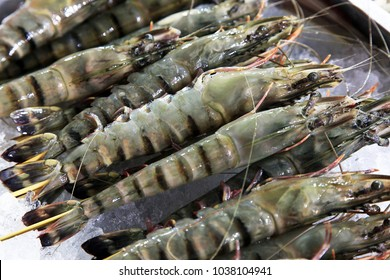 Fresh prawns lie on the cold ice. Sale of shrimp. Fresh seafood is isolated on ice.