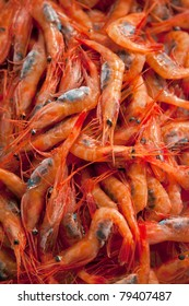 Fresh prawns at a market stall