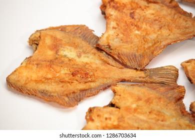 Fresh prepared and fried flatfish fish