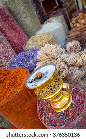 Fresh produce displayed in the spice souq market in Dubai, UAE