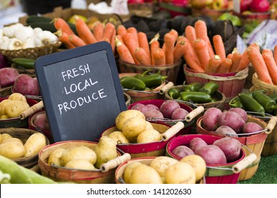 Fresh produce on sale at the local farmers market.