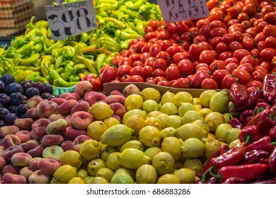 Fresh product of fruit and vegetable in Central Market Hall, Budapest, Hungary