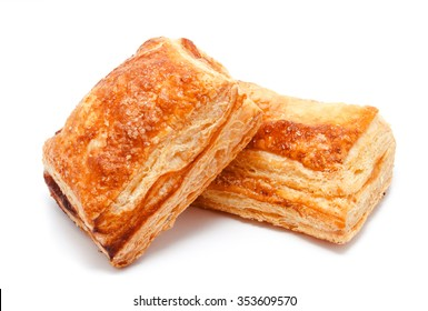 Fresh puff pastries isolated on a white background