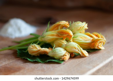 Fresh pumpkin flowers ready to be fried in the batter