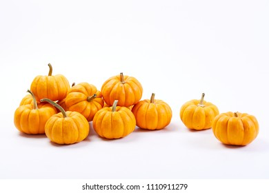 fresh pumpkins on white