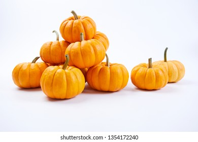 fresh pumpkins on the white