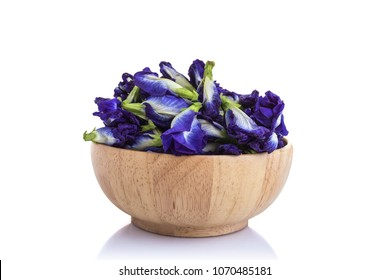 Fresh purple Butterfly pea flower. Studio shot and isolated on white background. Food or herb concept