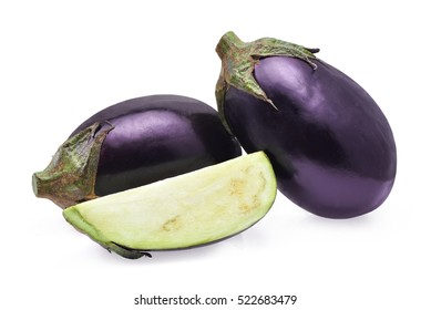 fresh purple eggplant isoalted on white background