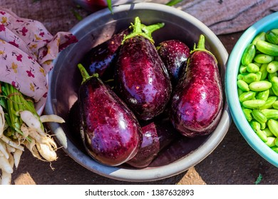 Fresh purple eggplant in metal basin on the market. Close-up view of raw aubergine with water drops. Vegan food.