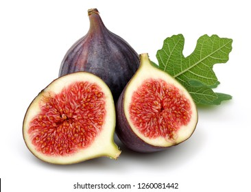Fresh purple fig fruit and slices with leaf isolated on white background
