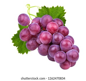 Fresh purple grapes isolated on white background with clipping pass