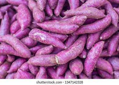 Fresh purple yams pile,Sweet and can do both Thai food and dessert,yam background.