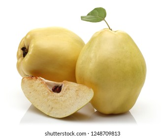 Fresh Quince and leaf isolated on white background
