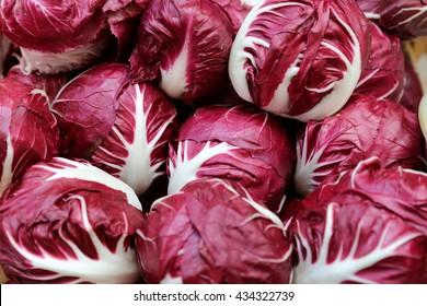 Frischer Radicchio Lettuce auf dem italienischen Bauernmarkt