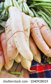 Fresh radish for cooking in the market