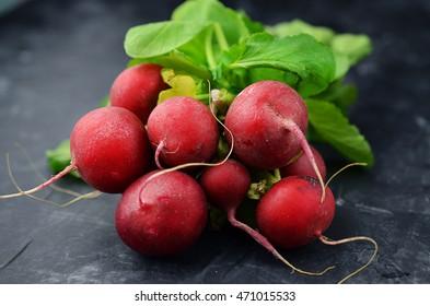 Fresh radishes on blackboard background.