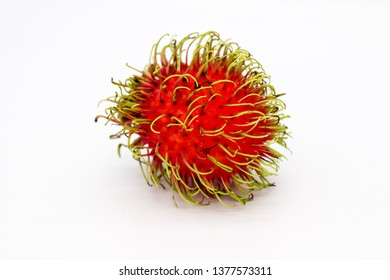 Fresh Rambutan with white background. Rambutan is a sour and sweet fruit. Rambutan helps nourish the skin to brighten and also help relieve severe diarrhea.