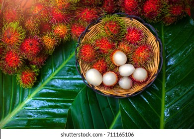 Fresh rambutans in a basket placed on a green leaf concept.