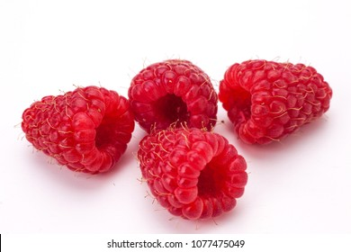 Fresh rasberry isolated on white backgdound. Natural food.