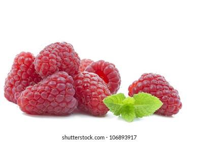 Fresh Raspberries with mint leaf on white background