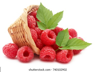 Fresh Raspberry in a basket over white background
