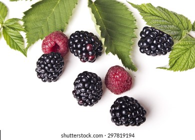 fresh raspberry and blackberry isolated on white background