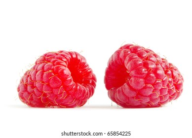 fresh raspberry fruits  isolated on white background