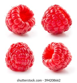Fresh raspberry isolated on white background. Collection.