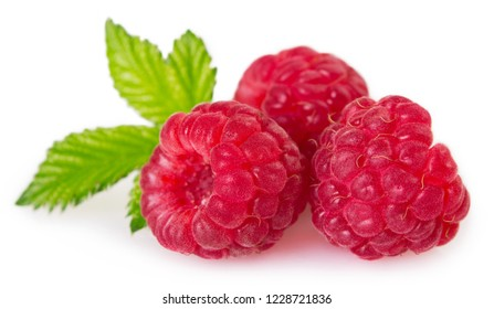 fresh raspberry with leaf isolated on white background