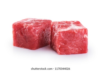 Fresh raw beef cubes isolated on white background.