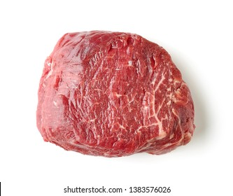 fresh raw beef fillet steak meat isolated on white background, top view