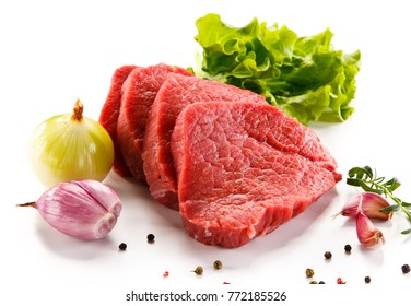 Fresh raw beef on white background