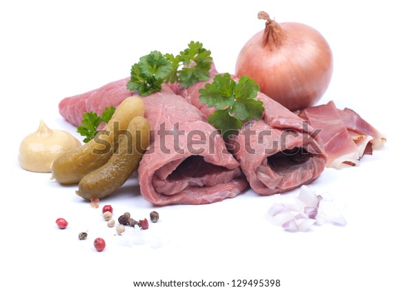 Fresh raw beef roulade