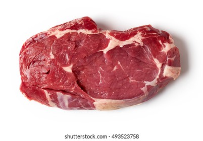 Fresh raw beef steak isolated on white background, top view