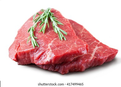 Fresh raw beef steak with rosemary isolated on white background
