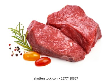 Fresh raw beef steak with spices, sliced meat, close-up, isolated on white background.
