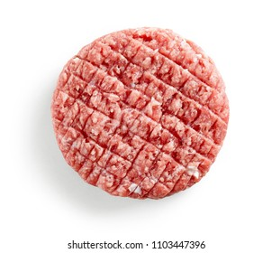 fresh raw burger meat isolated on white background, top view