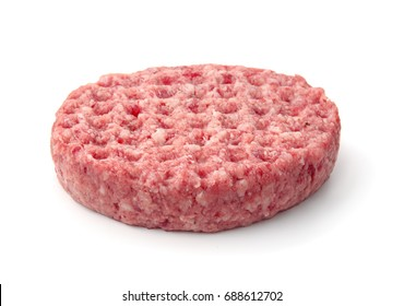 Fresh raw burger patty isolated on white