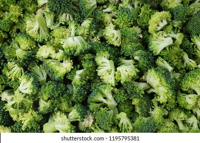 Fresh, raw calabrese broccoli florets as an abstract background texture