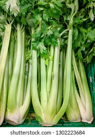 Fresh raw celery on marketplace