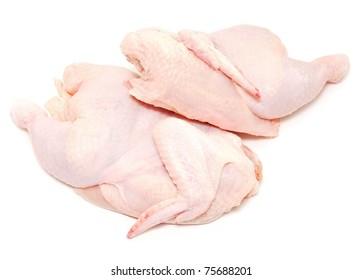fresh raw chicken on white