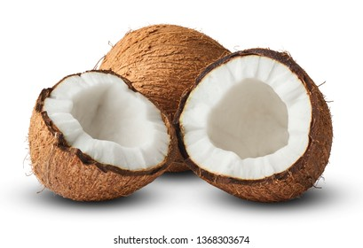 Fresh raw coconut isolated on white background. High resolution image