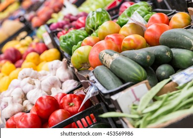 fresh raw different vegetables in market