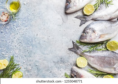 Fresh raw Dorado or sea bream with spices, herbs, lemon and salt over blue background Top view