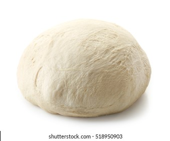 fresh raw dough for pizza or bread baking isolated on white background