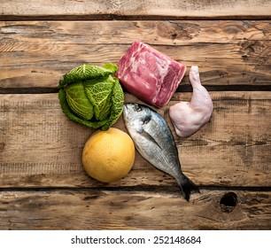 Fresh raw food ingredients for Paleo diet