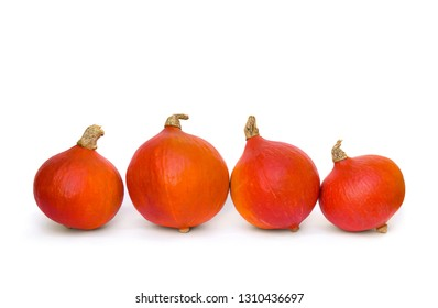 Fresh raw fruits red kuri squash ( hokkaido ) on a white background