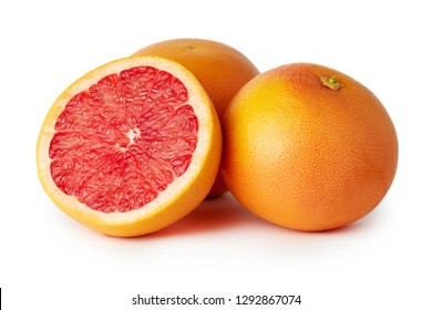 Fresh raw grapefruit (citrus x paradisi) isolated on white background
